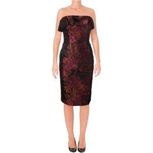 Black Halo Wynne Jacquard Strapless Cocktail Dress